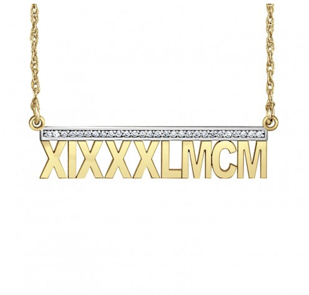 14K Gold Roman Numeral Diamond Necklace