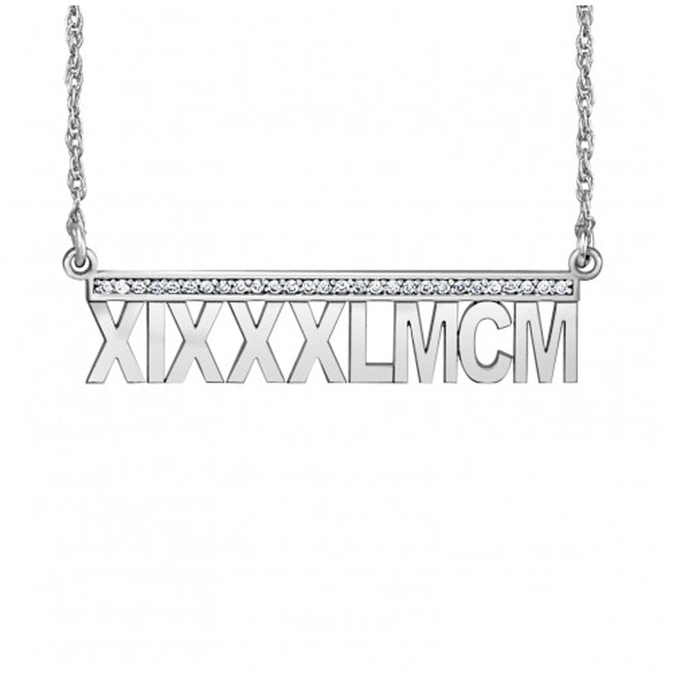 14K Gold Roman Numeral Diamond Necklace 3