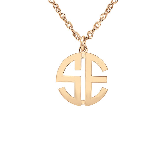 14K Gold Block Mini Monogram Necklace