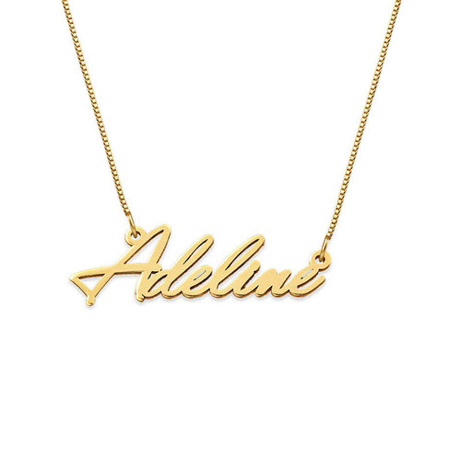 14K Solid Gold Little Name Necklace