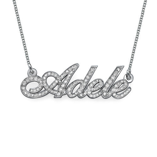 14K White Gold Diamond Nameplate Necklace
