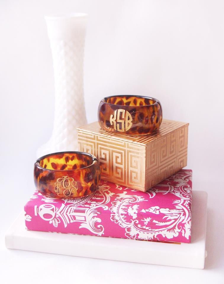 Medium And Large Tortoise Acrylic Monogram Bracelets