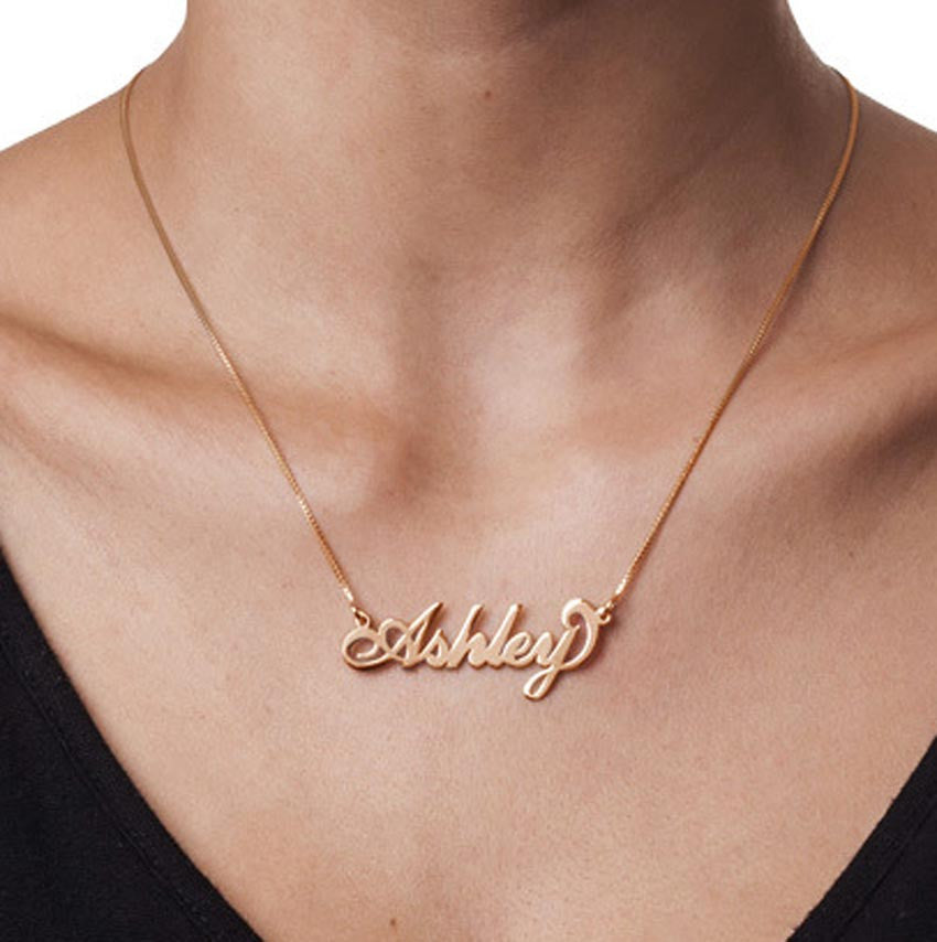 18K Rose Gold Vermeil Nameplate Necklace on Box Chain 2