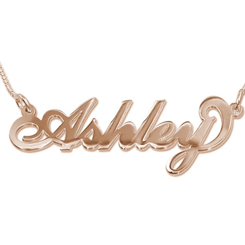 6f067e788 18K Rose Gold Vermeil Nameplate Necklace on Box Chain ...