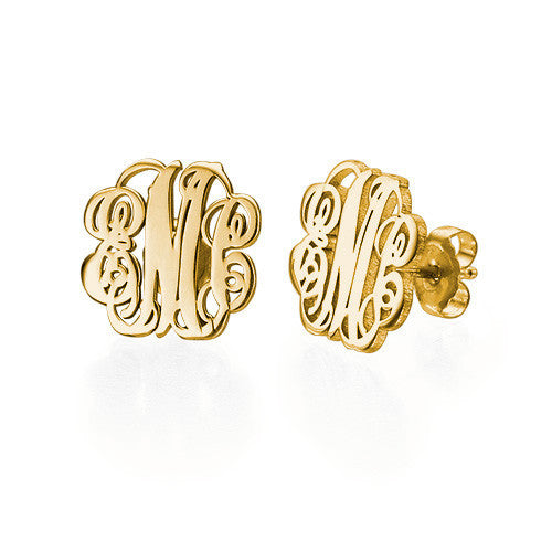 Gold Fancy Script Monogram Earrings