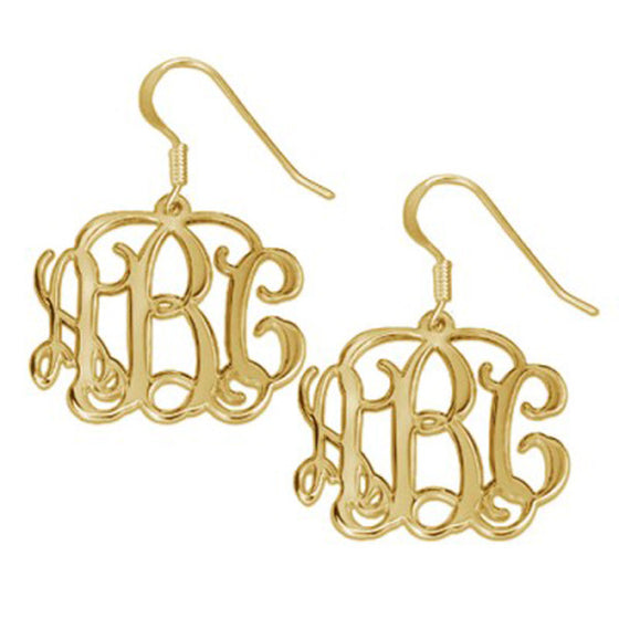 Gold Vine Script Monogram Earrings
