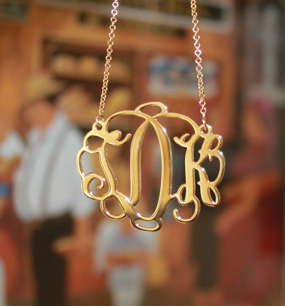 18K Gold Plated Vine Script Monogram Necklace6