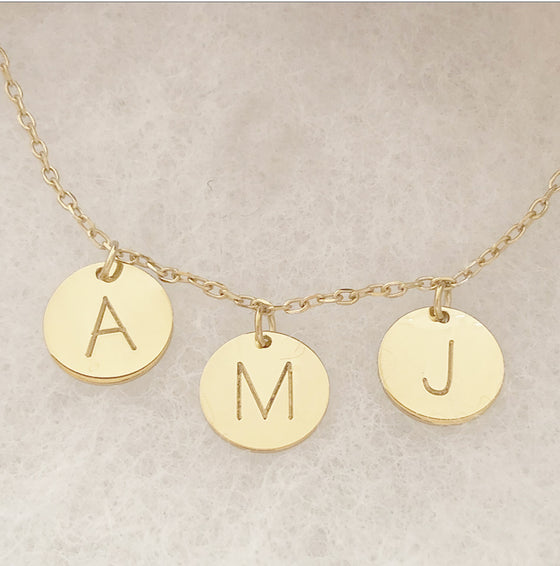 Personalized Initial Disc Necklace-Kate Middleton-up to 5 discs