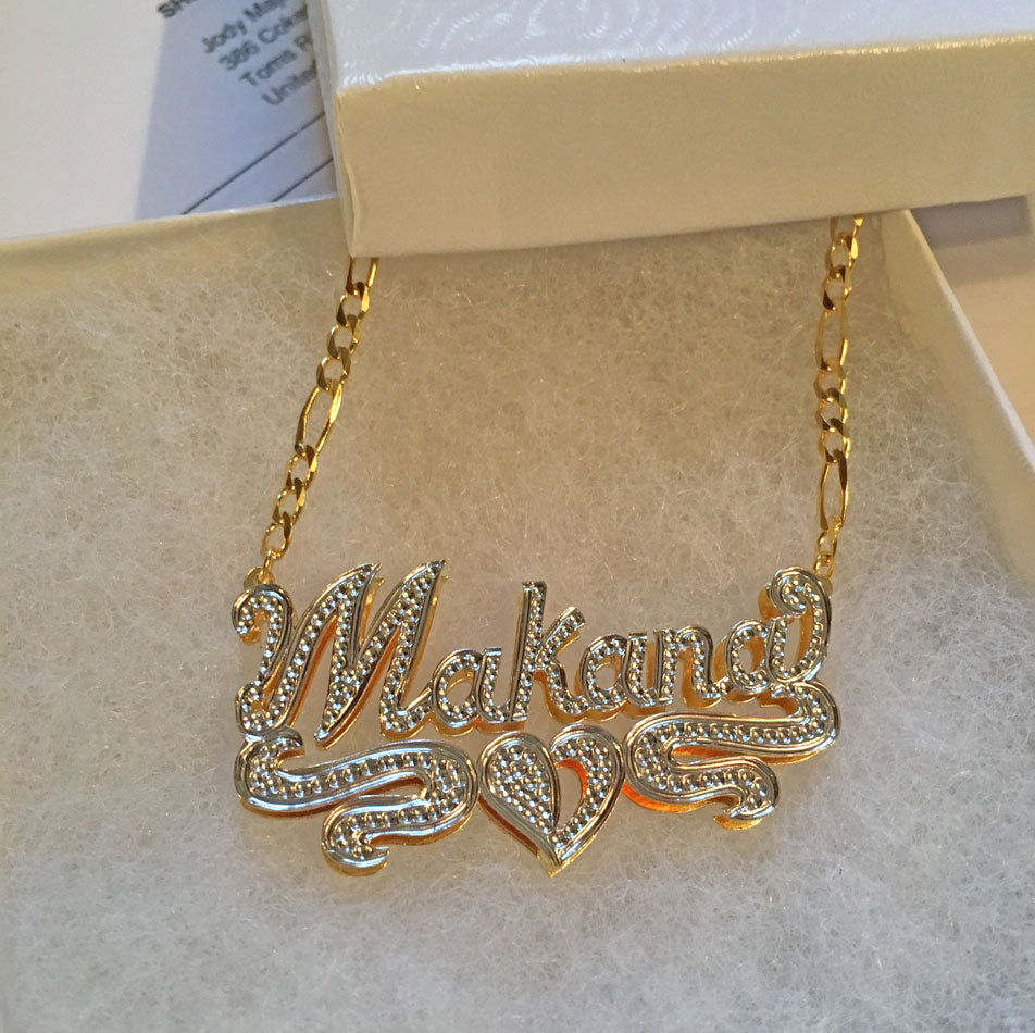 Double Plated 3D Beaded Name Necklace 6