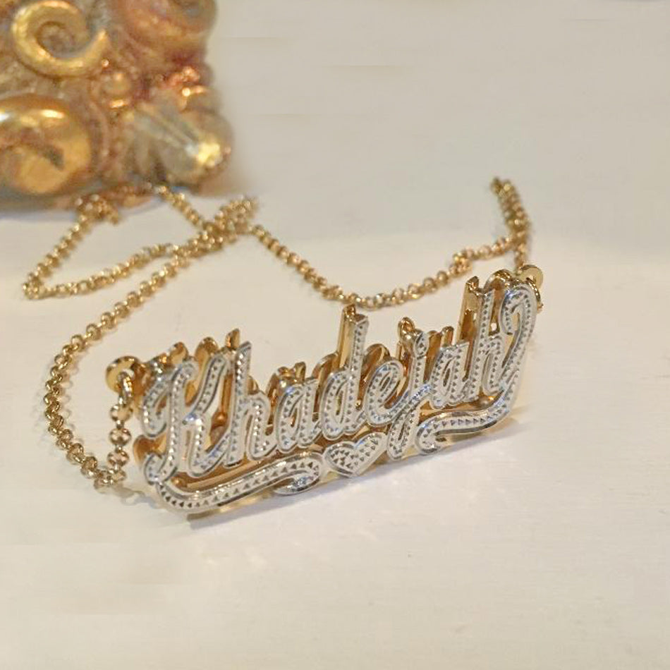 Double Plated Beaded Nameplate Necklace 2