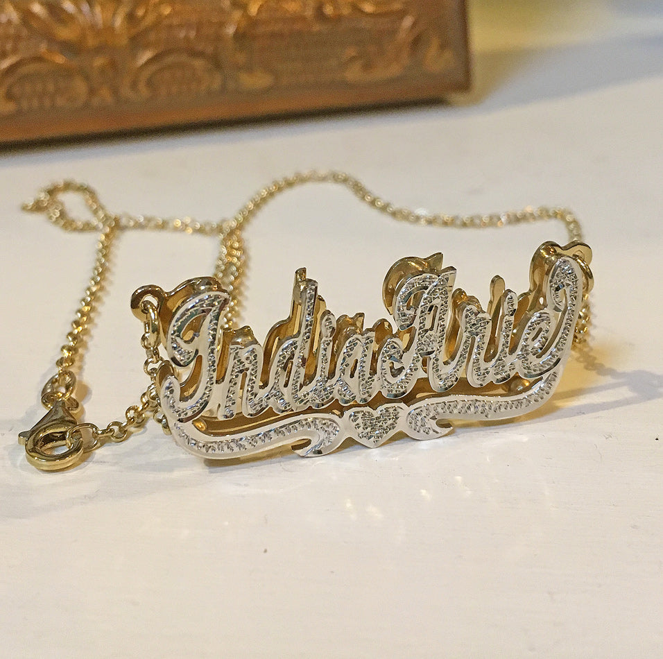 Double Plated Beaded Nameplate Necklace 10