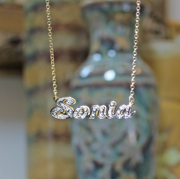Gold 3d Double Plated Nameplate Necklace With Cz S Be