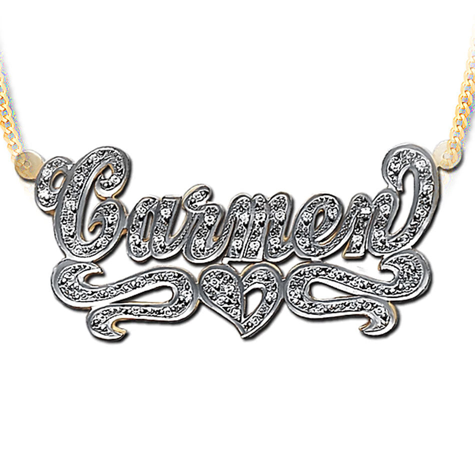 3D Double Plated CZ Nameplate Necklace with Heart