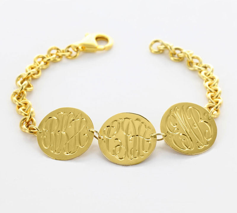 Three Disc Engraved Disc Monogram Bracelet