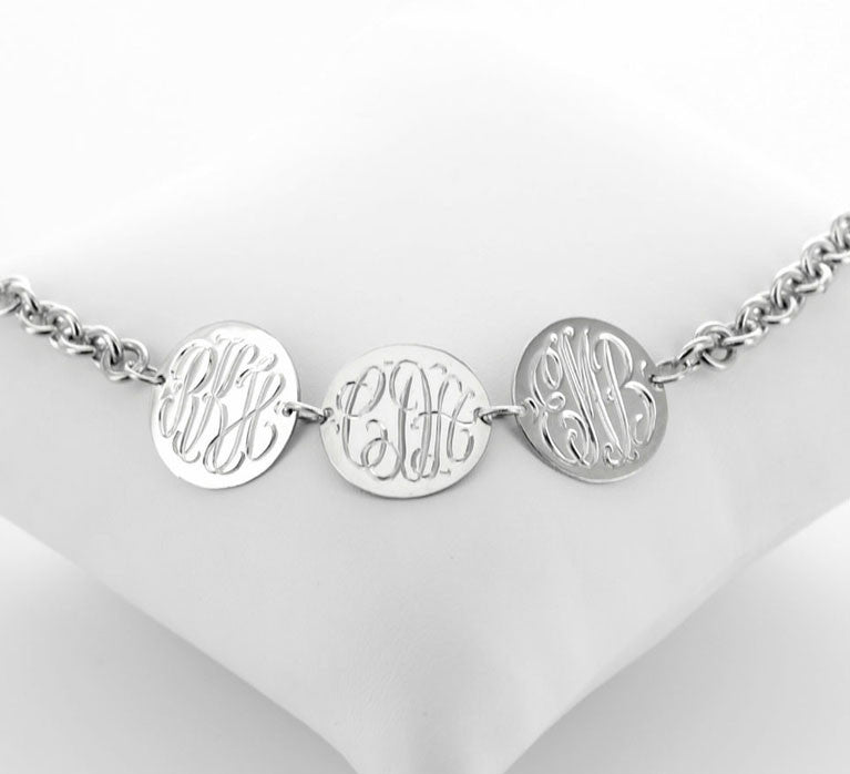 Three Disc Engraved Disc Monogram Bracelet Alternate 1