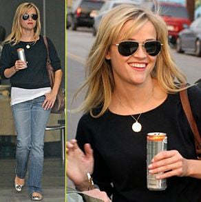 1 Inch 12K Gold Plated Engraved Disc Necklace Reese Witherspoon