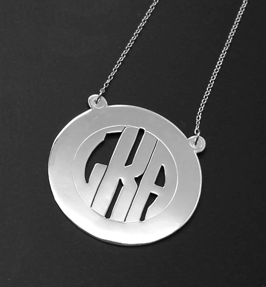 Sterling Silver Rimmed Block Monogram Necklace