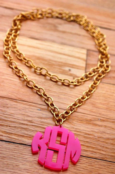 Moon And Lola Extra Large Block Monogram Necklace