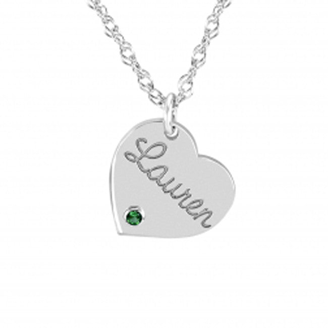 Personalized Heart Necklace with Birthstone 2