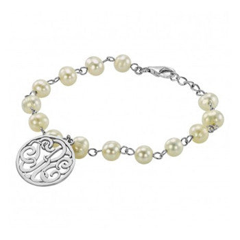 Personalized Sterling Silver Monogram Pearl Bracelet
