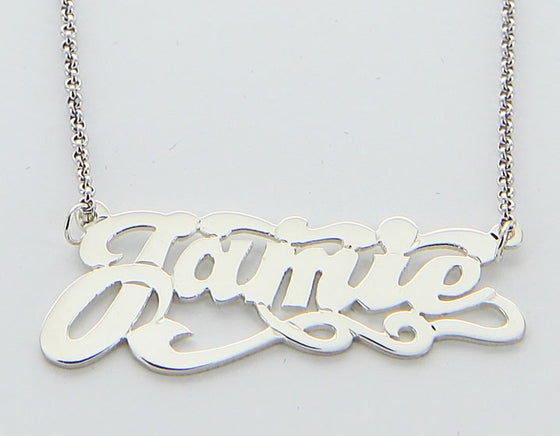 Sterling Silver Swirly Nameplate Necklace With Tail