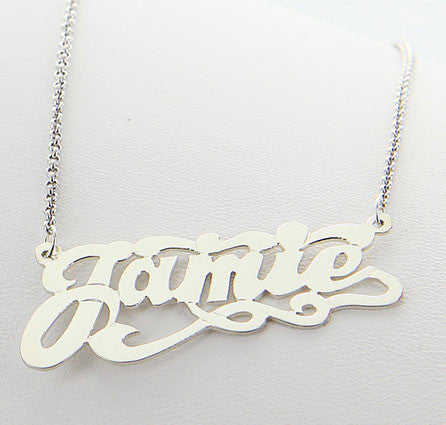 Sterling Silver Swirly Nameplate Necklace With Tail Alternate 1