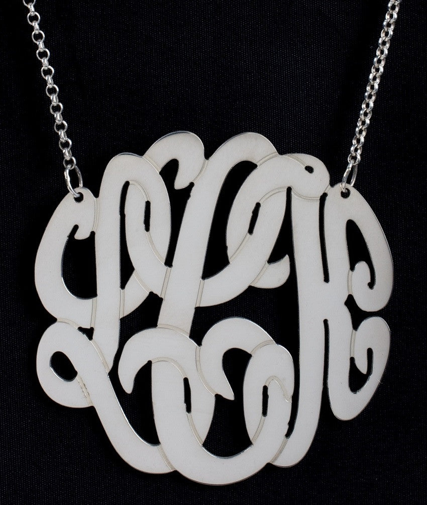 sterling silver monogram necklace - large