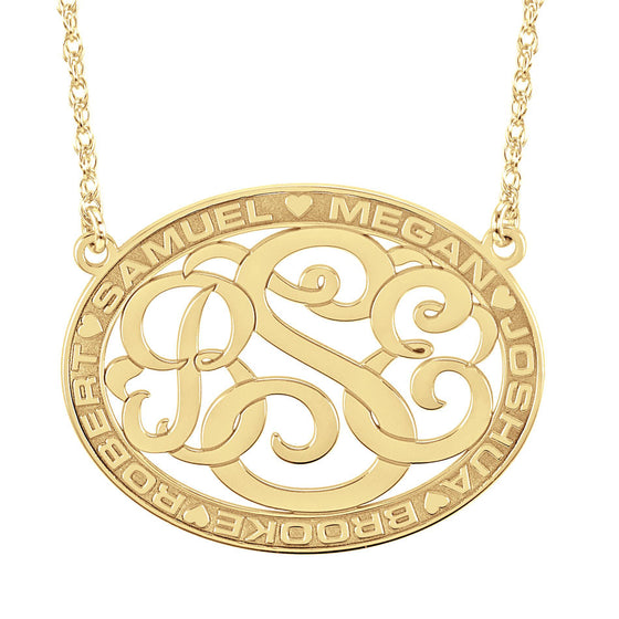 Classic Border Oval Cutout Monogram Mothers Necklace