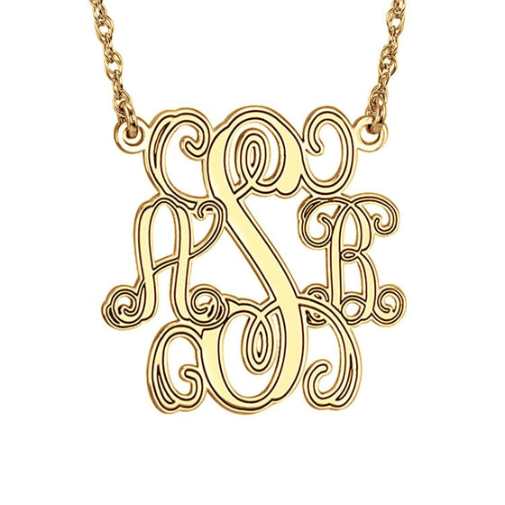 Gold Monogram Necklace Interlocking Script