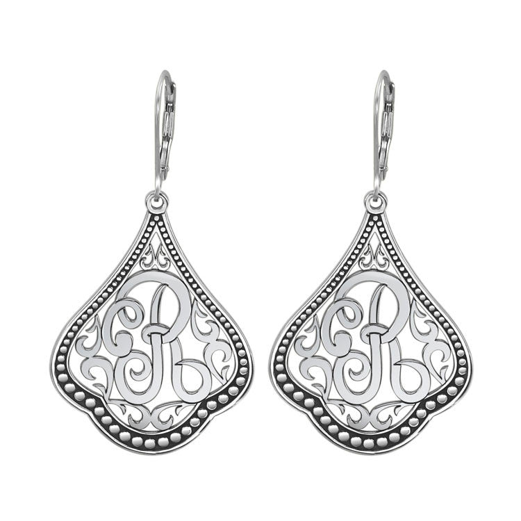 Classic Sterling Silver Script Initial Earrings
