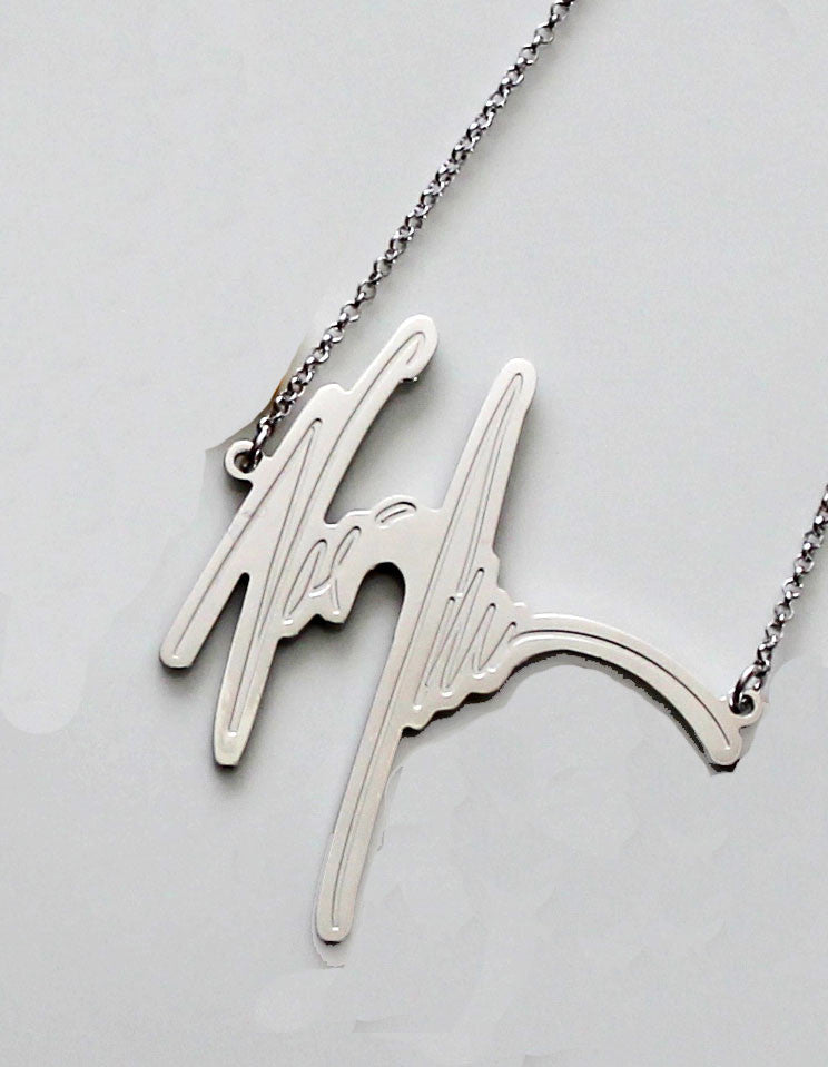 Your Signature Nameplate Necklace Sterling Silver
