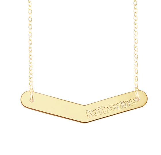 Personalized Gold Bar Necklace Boomerang