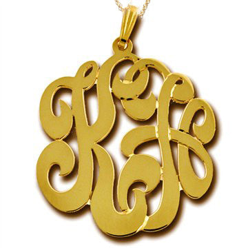Two Initial Script Monogram Necklace