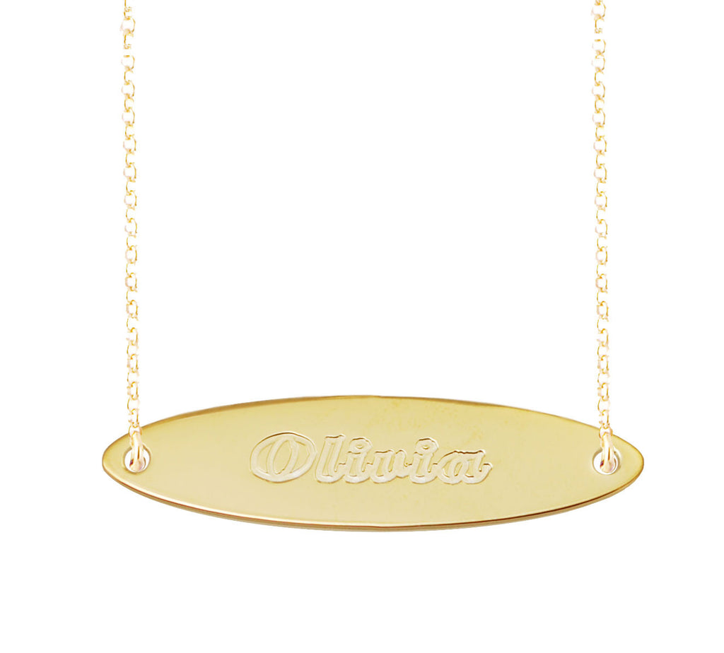 Oval Gold Bar Necklace