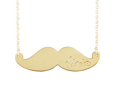 Engraved Mustache Necklace