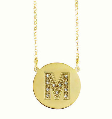 Gold Disc Cz Initial Necklace Kourtney Kardashian Jessica Simpson