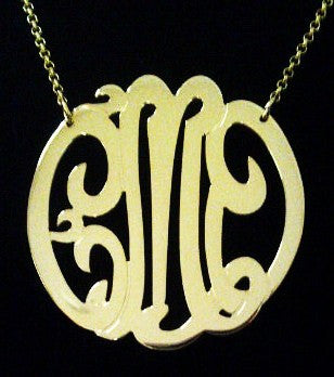 Gold Monogram Necklace   Large