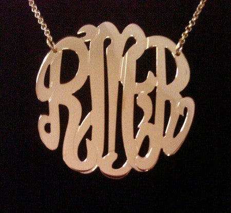 Rose Gold Monogram Necklace Large