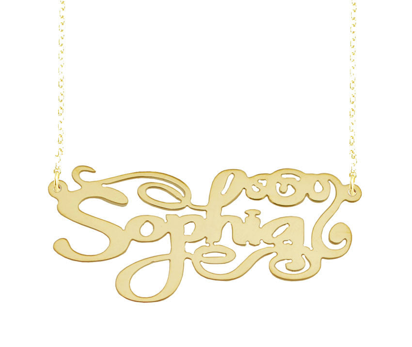 Scrolly Nameplate Necklace