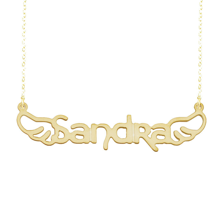 Angel Wing Nameplate Necklace