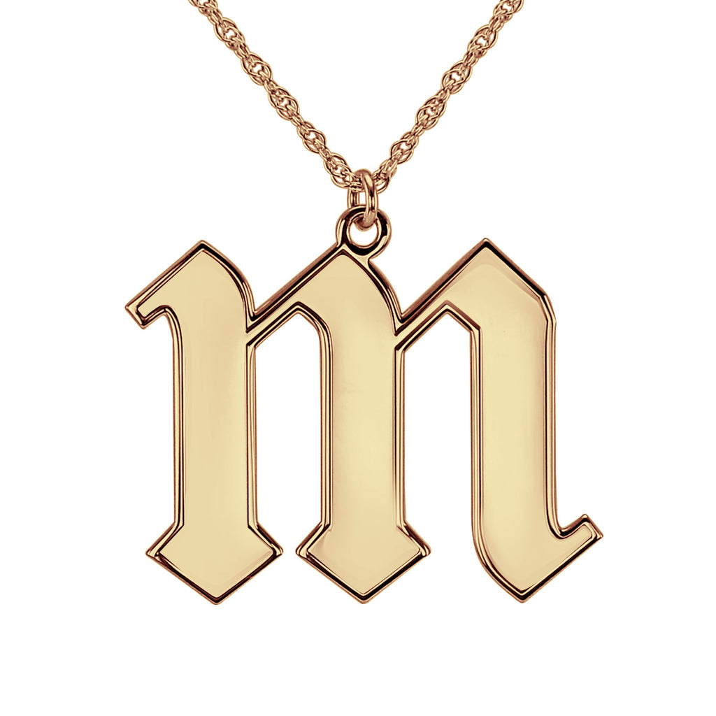 Rose Gold Gothic Initial Necklace