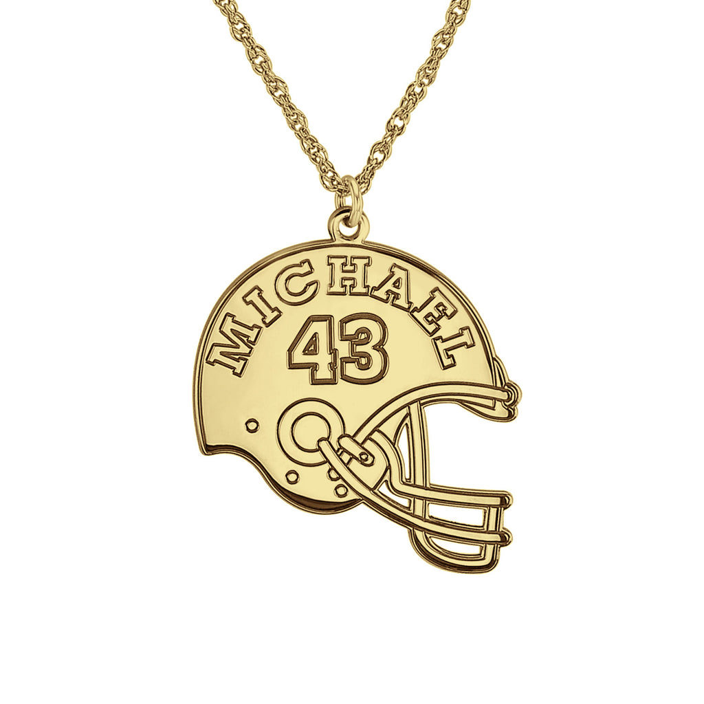 Personalized Football Helmet Necklace Alternate 1