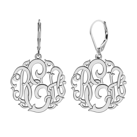 Vine Monogram Leverback Earrings
