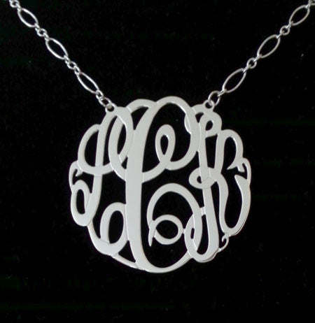 Sterling Silver Big Slim Monogram Necklace Long Short Chain