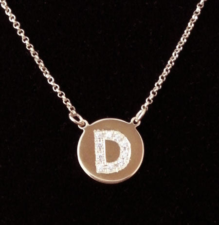 Engraved Gold Disc Cz Initial Necklace Katie Holmes Katy Perry