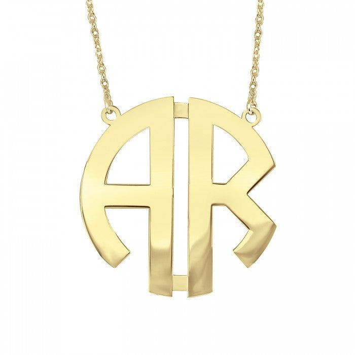 Two Initial Block Monogram Necklace