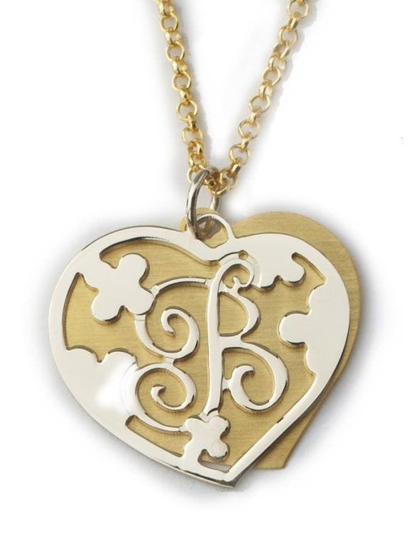 Gold And Silver Cut Out Double Heart Necklace