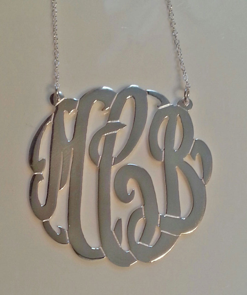 Sterling Silver Fancy Script Monogram Necklace Andi Dorfman