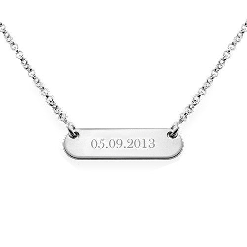 sterling silver engraved rounded bar necklace