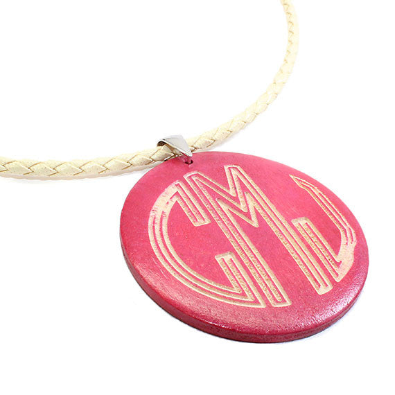 Monogrammed Round Pink Wood Necklace